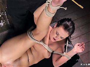 hogtied in the air gets anal ravaged