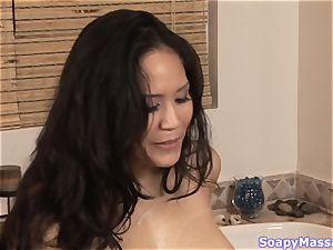 fortunate boy getting kneaded up by Jessica Bangkok and Taylor kiss